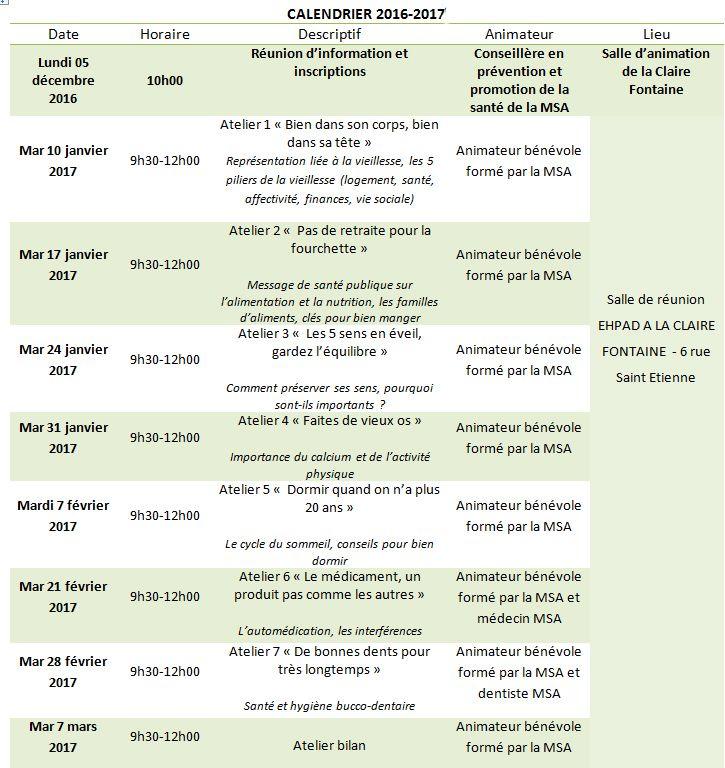 calendrier du bien vieillir 2016-2017