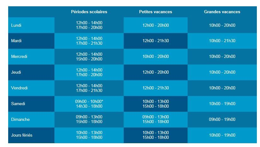 horaires piscine 2016